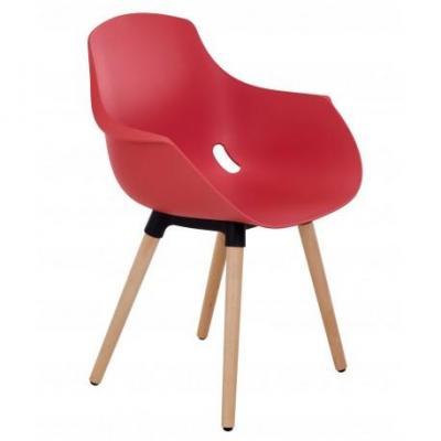Chaise empilable de bureau style Scandinave Helene Bois - Couleur : Rouge